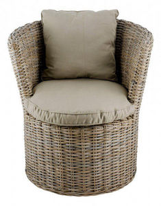 INWOOD - fauteuil haut rond kubu en rotin de bananier 70x62 - Fauteuil De Jardin