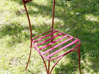 BARCLER - chaise de jardin laura en fer forgé prune 39x34,5x - Chaise De Jardin