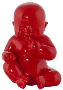 KOKOON DESIGN - statuette design bébé en polyrésine rouge 19x16x24 - Statuette