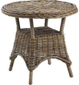 Aubry-Gaspard - table d'appoint ronde en poelet gris - Table D'appoint