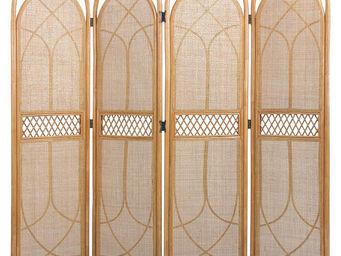 Aubry-Gaspard - paravent 4 panneaux en rotin et cannage 135x170cm - Paravent