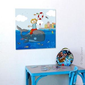 SERIE GOLO - toile imprimée poissons volants 60x60cm - Tableau Décoratif Enfant