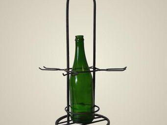 L'HERITIER DU TEMPS - porte 1 bouteille et 4 verres en fer - Porte Bouteilles