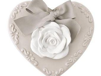 Mathilde M - cur avec une rose en plâtre à suspendre, parfum ro - Céramique Parfumée