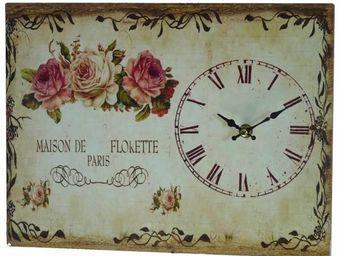 L'HERITIER DU TEMPS - horloge plaque publicitaire rose - Horloge Murale