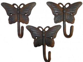 L'HERITIER DU TEMPS - set 3 patères papillons en fonte - Patère
