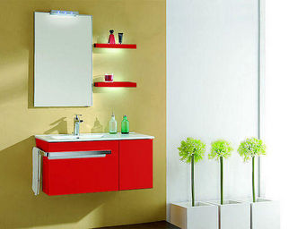 UsiRama.com - meuble salle de bain blanc barcelone 90cm - Meuble De Salle De Bains