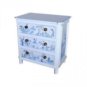 Demeure et Jardin - commode blanche décor bleu style toile de jouy - Commode