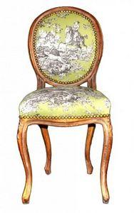 Demeure et Jardin - chaise transition doré toile de jouy verte et marr - Chaise Médaillon
