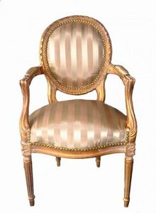 Demeure et Jardin - fauteuil cabriolet ray� ivoire et beige - Fauteuil M�daillon