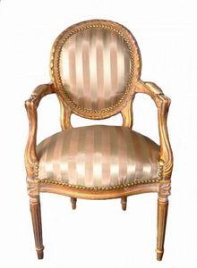 Demeure et Jardin - fauteuil cabriolet rayé ivoire et beige - Fauteuil Médaillon