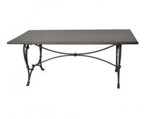 Demeure et Jardin - belle table rectangulaire avec un pietement fonte - Table De Repas Rectangulaire