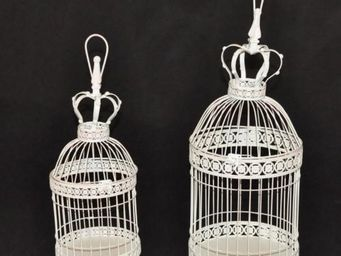 Demeure et Jardin - set de 2 cages � d�co � patine blanc antique - Cage � Oiseaux