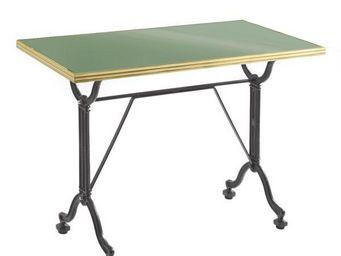 Ardamez - table de repas émaillée vert réséda / inox / fonte - Table De Repas Rectangulaire
