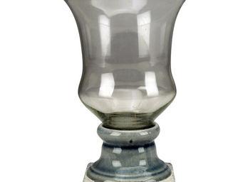 Interior's - vase à pied gris bleuté - Vase À Fleurs