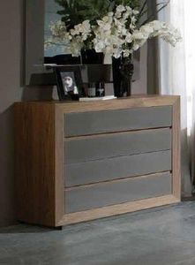 WHITE LABEL - commode elche, 4 tiroirs finition taupe - Commode