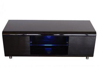 WHITE LABEL - meuble tv design laqué noir. - Meuble Tv Hi Fi