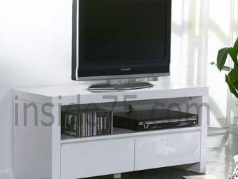 WHITE LABEL - white meuble tv avec 2 tiroirs laqué blanc brillan - Meuble Tv Hi Fi
