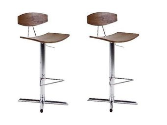 WHITE LABEL - lot de 2 tabourets chaises de bar uptown chrom� bo - Chaise Haute De Bar