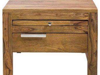 WHITE LABEL - chevet wood en bois massif 1 tiroir - Table De Chevet