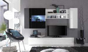 WHITE LABEL - composition murale tv design primera noir et blanc - Meuble Tv Hi Fi