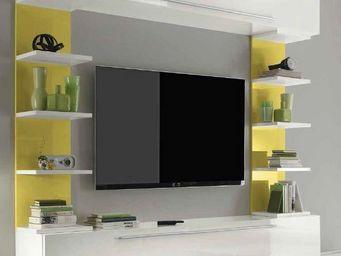 WHITE LABEL - composition tv design primera giallo blanc brillan - Meuble Tv Hi Fi
