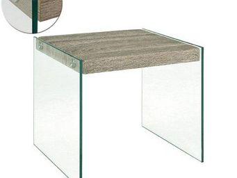 WHITE LABEL - table basse nina en verre et ch�ne gris - Table Basse Rectangulaire