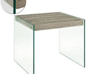 WHITE LABEL - table basse nina en verre et chêne gris - Table Basse Rectangulaire