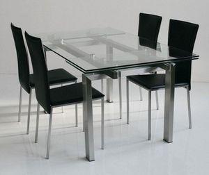 WHITE LABEL - table repas extensible new york verre et acier, 16 - Table De Repas Rectangulaire