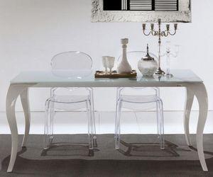 WHITE LABEL - table repas extensible paris en verre et plexiglas - Table De Repas Rectangulaire