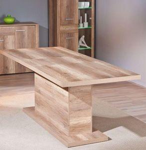 WHITE LABEL - table repas extensible absoluto en bois chene brut - Table De Repas Rectangulaire