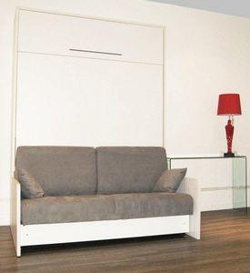 WHITE LABEL - armoire lit escamotable space sofa, canapé intégré - Lit Escamotable
