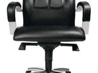 WHITE LABEL - fauteuil de bureau réglable triumph en cuir noir - Fauteuil De Bureau