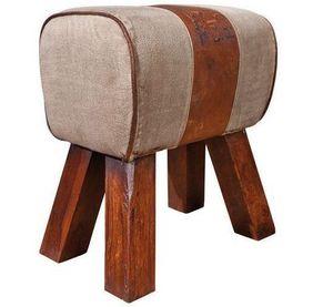 WHITE LABEL - pouf stromboli en bois assise en coton et cuir mar - Pouf
