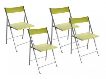 WHITE LABEL - belfort lot de 4 chaises pliantes vert anis - Chaise Pliante