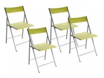 WHITE LABEL - belfort lot de 4 chaises pliantes vert anis - Chaise Pliante