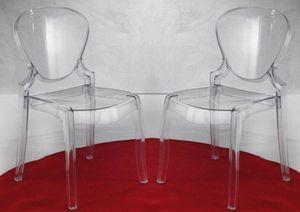 WHITE LABEL - lot de 2 chaises design light en plexiglas transpa - Chaise