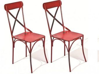 WHITE LABEL - lot de 2 chaises design bistro en acier rouge - Chaise