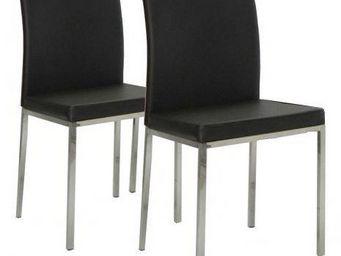 WHITE LABEL - lot de 2 chaises design flux en simili cuir noir e - Chaise