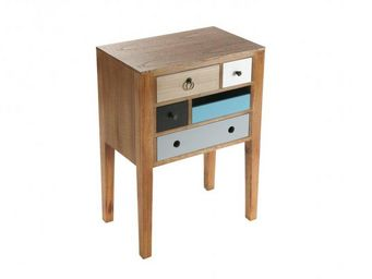 WHITE LABEL - flora petite commode bois 5 tiroirs color�s - Table De Chevet