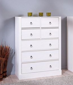 WHITE LABEL - commode provence blanche 7 tiroirs en pin massif - Commode