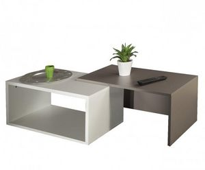 WHITE LABEL - duet double table basse blanc et taupe - Table Basse Forme Originale