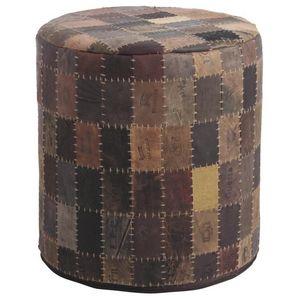 Aubry-Gaspard - pouf rond en cuir patchwork - Pouf