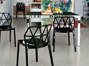 Calligaris - table repas extensible key 130x89 en verre noir et - Table De Repas Rectangulaire