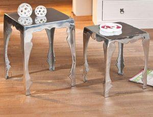 WHITE LABEL - lot de 2 tables d'appoint solta en aluminium - Table D'appoint
