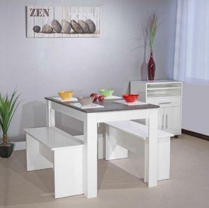 WHITE LABEL - atlantique table repas 4 personnes blanche avec pl - Table De Repas Rectangulaire