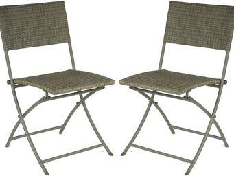 PROLOISIRS - chaise pliante r�sine tress�e (lot de 2) - Chaise De Jardin