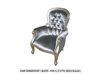 DECO PRIVE - fauteuil en velours gris baroque capitonné et bois - Fauteuil