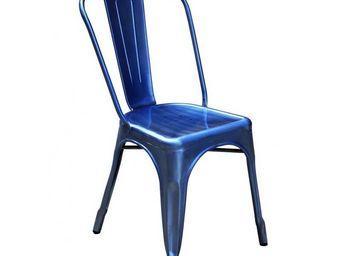 DECO PRIVE - chaise de style industriel bleu - Chaise