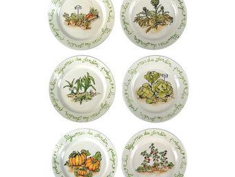 Interior's - coffret de 6 assiettes à dessert histoire de jardi - Assiette À Dessert